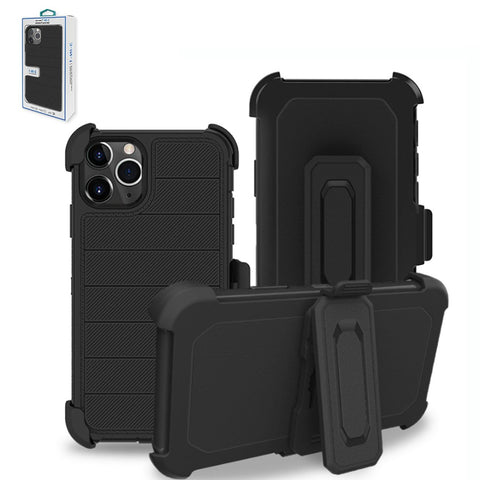 AOP3D APPLE IPHONE 11 PRO MAX 3-In-1 Hybrid Heavy Duty Holster Combo Case In Black - AOP3D.COM