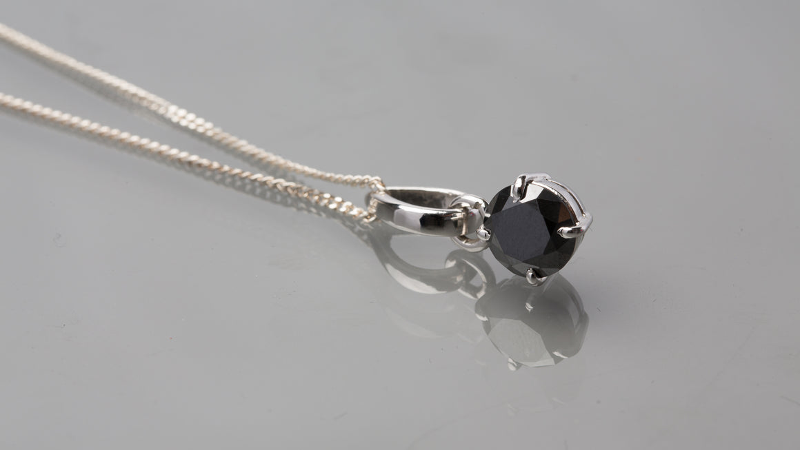 Black Diamond Pendant - Round