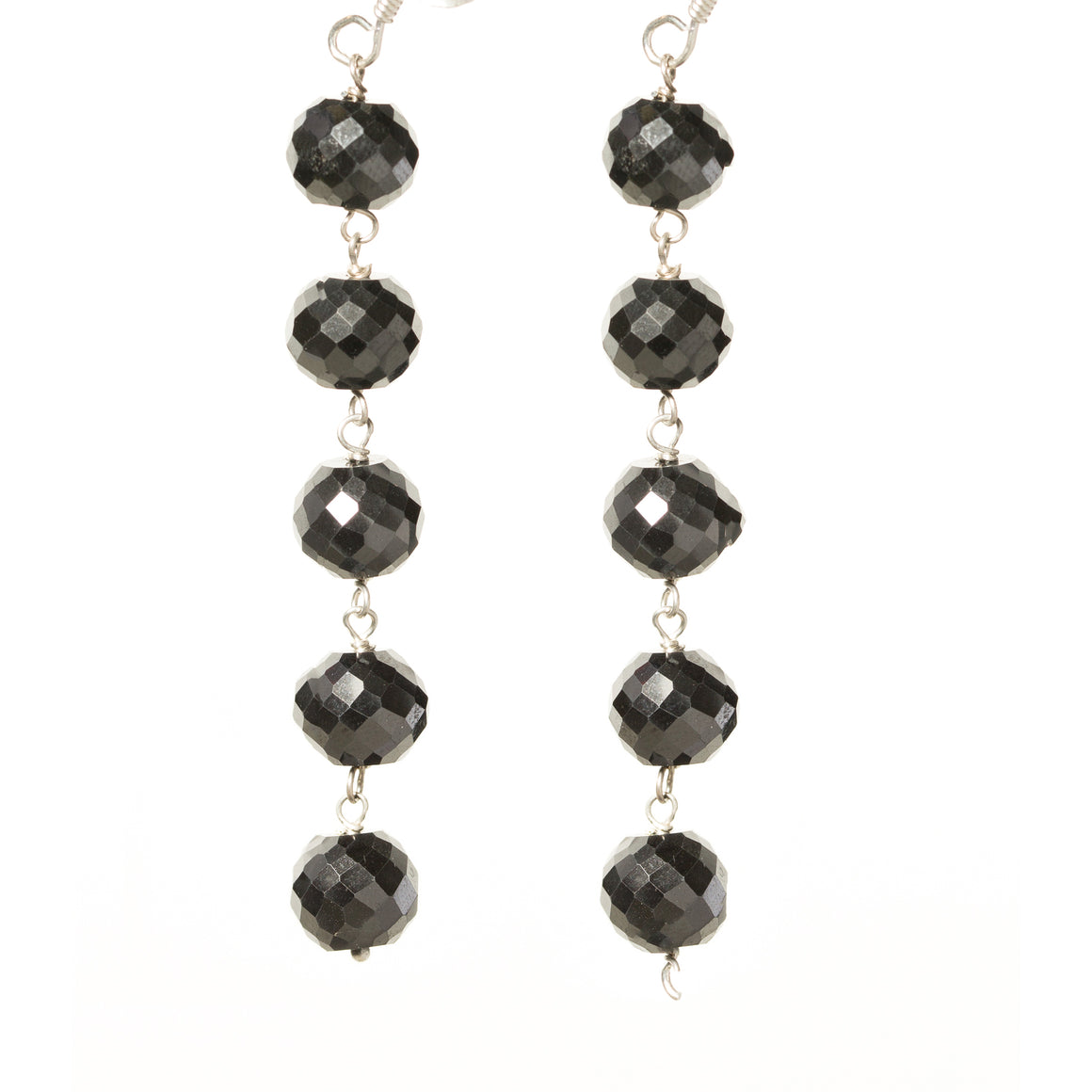 Beautiful Black Diamond Faceted Dangling Earrings