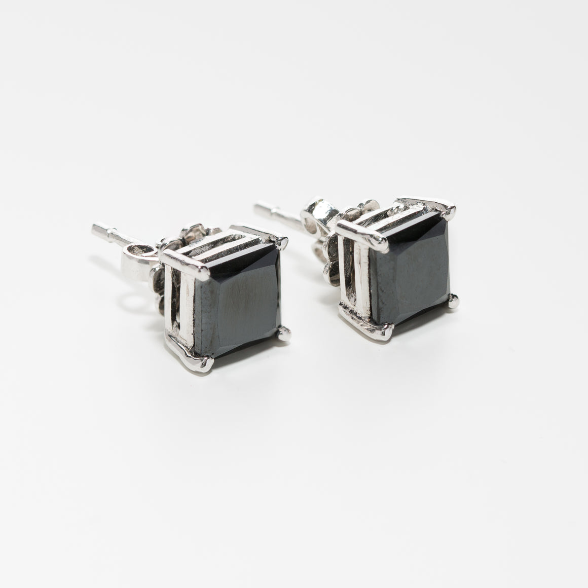 Black Diamond Square Earrings with Basket Setting