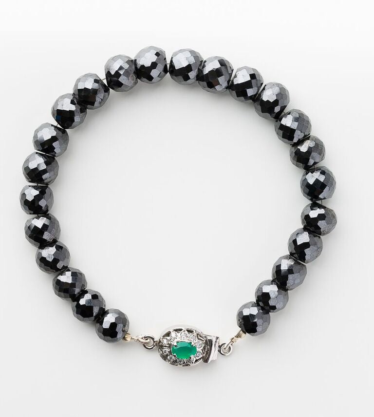 Beautiful Faceted Black Diamond Bracelet with Designer Gemstone Clasp