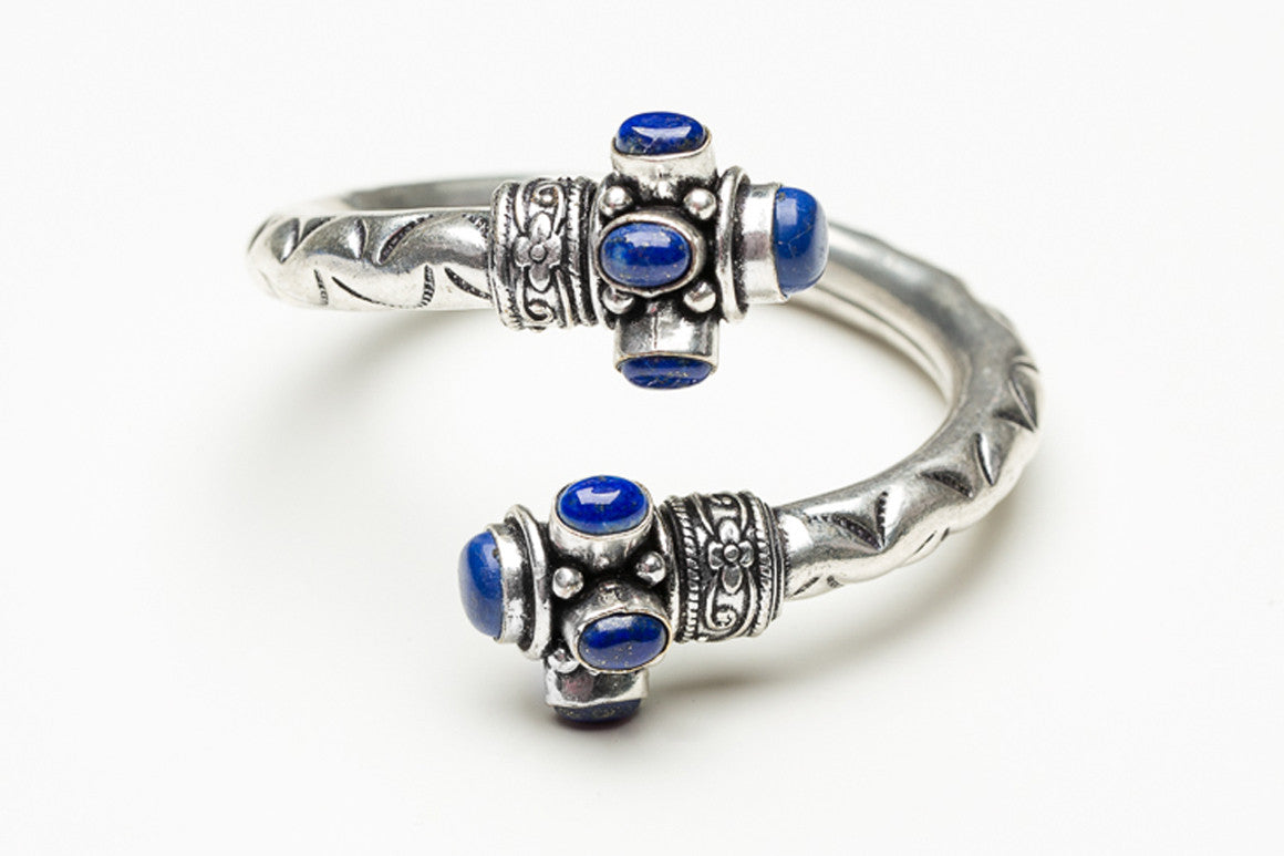 Lapis Scrolled Indian Cuff Bracelet