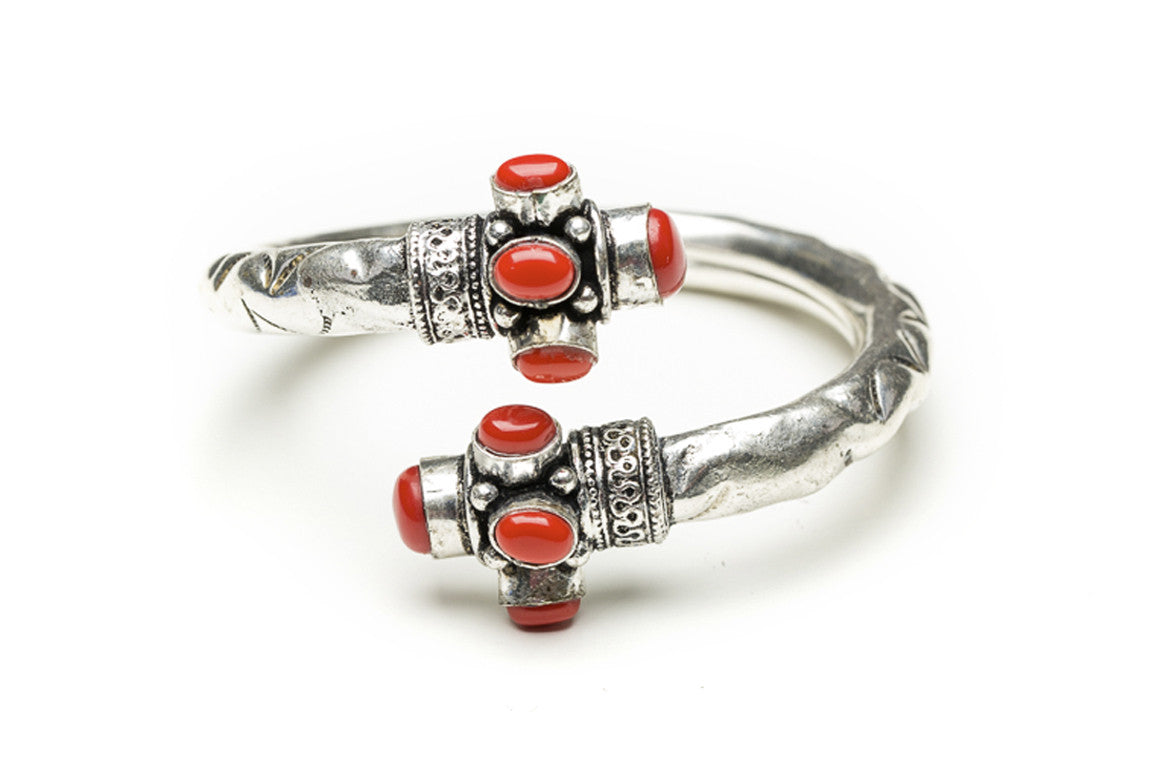 Coral Scrolled Indian Cuff Bracelet