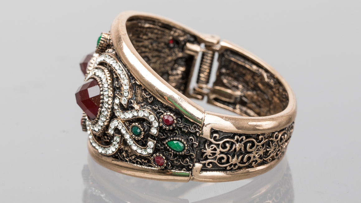 Ruby and Emerald Double Pear Turkish Cuff Bracelet
