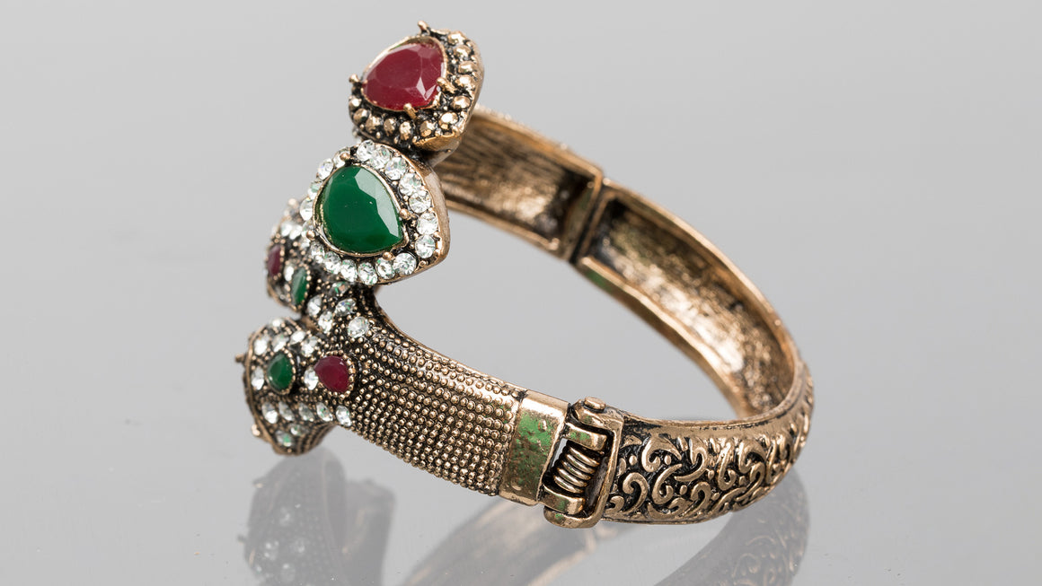 Emerald and Ruby Serpent Turkish Cuff Bracelet