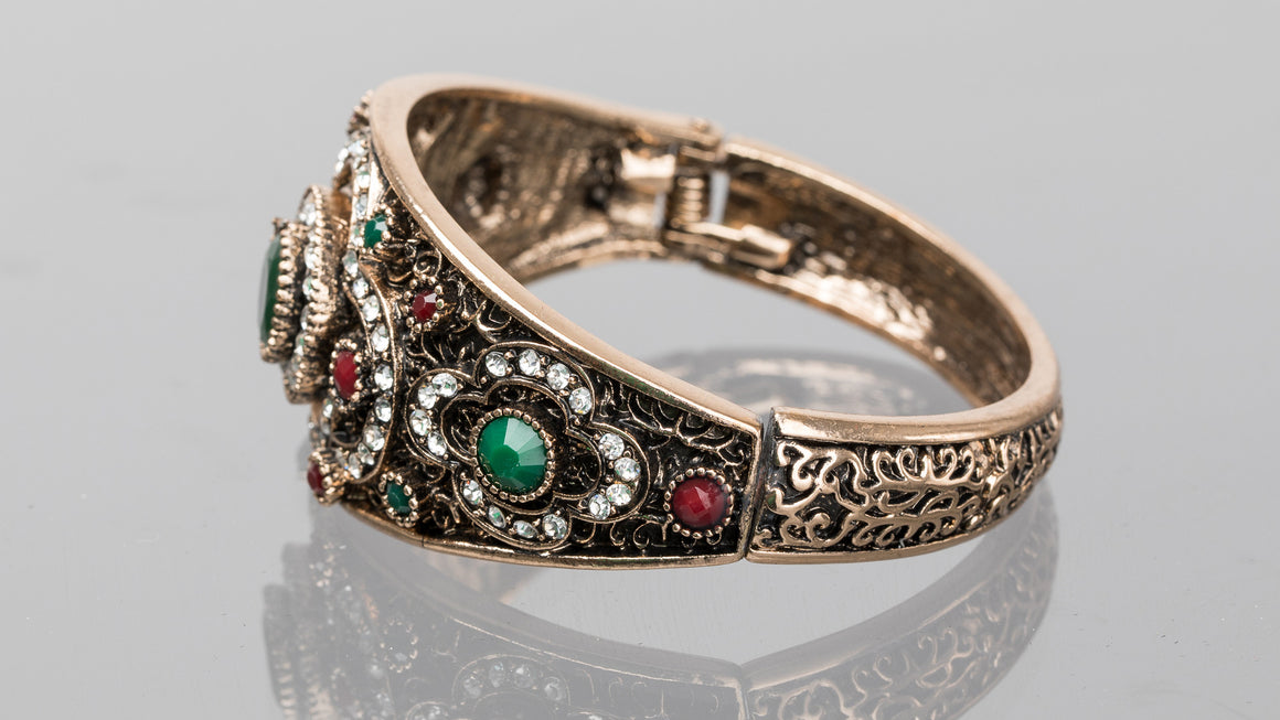 Emerald and Ruby Three Circle Turkish Cuff Bracelet