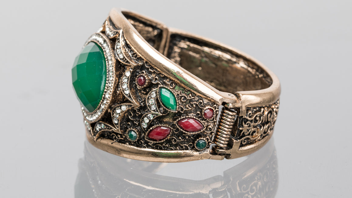 Emerald and Ruby Large Oval Turkish Cuff Bracelet