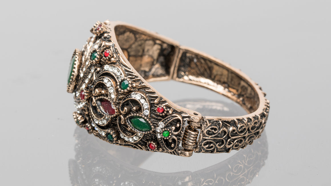 Emerald and Ruby Swirl Turkish Cuff Bracelet