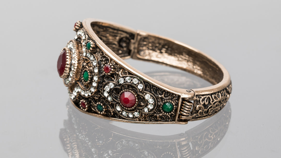 Ruby and Emerald Three Circle Turkish Cuff Bracelet