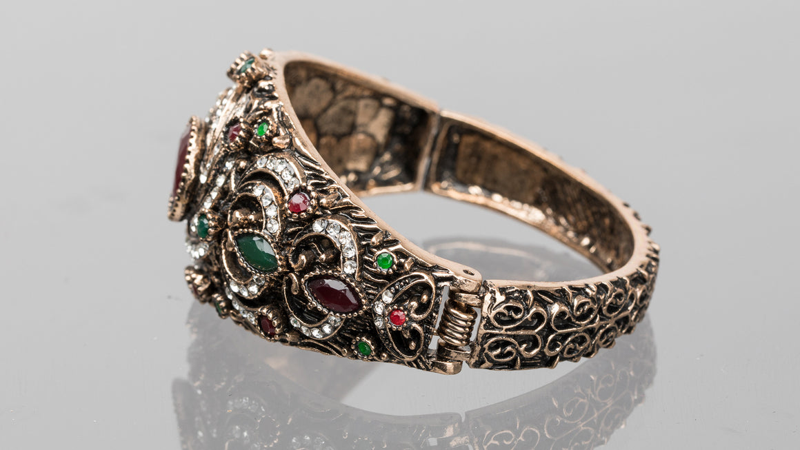 Ruby and Emerald Swirl Turkish Cuff Bracelet