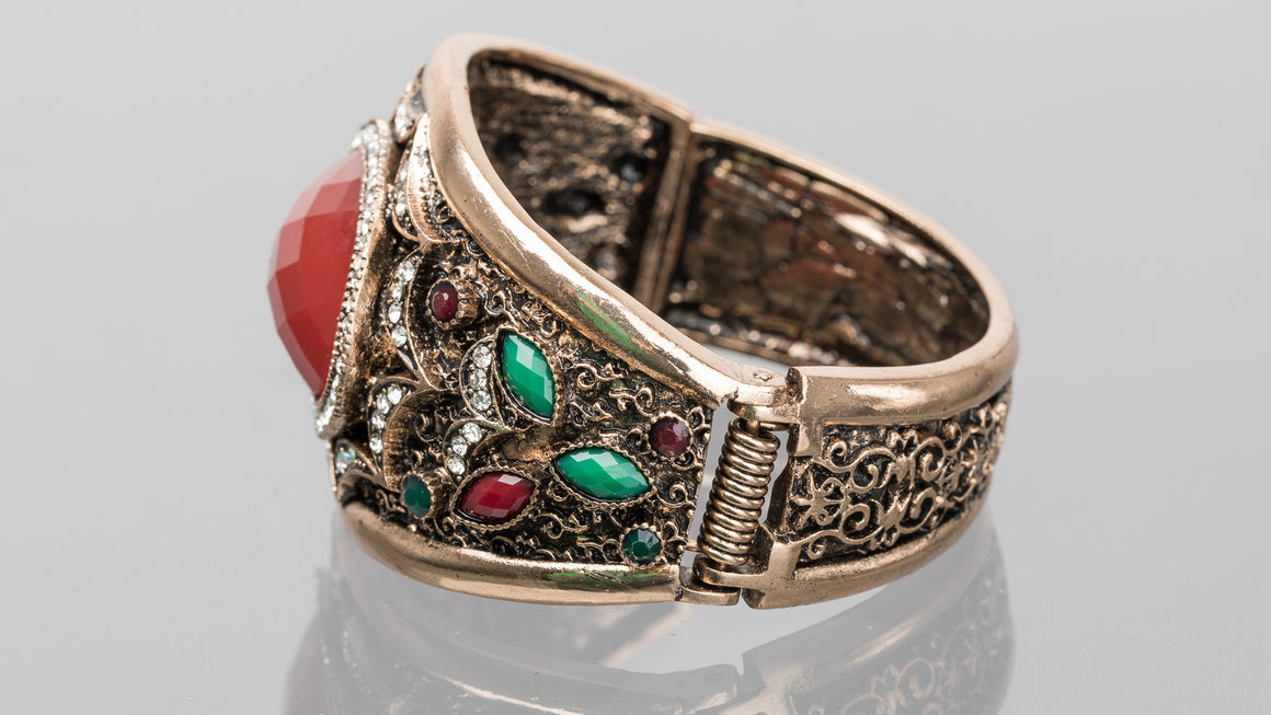 Ruby and Emerald Large Oval Turkish Cuff Bracelet