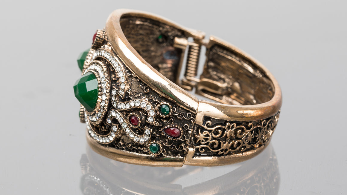Emerald and Ruby Double Pear Turkish Cuff Bracelet