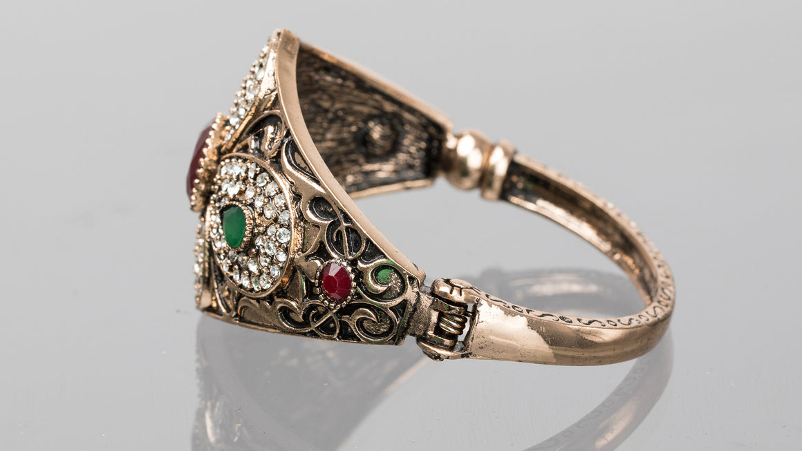 Ruby and Emerald Petal Turkish Cuff Bracelet