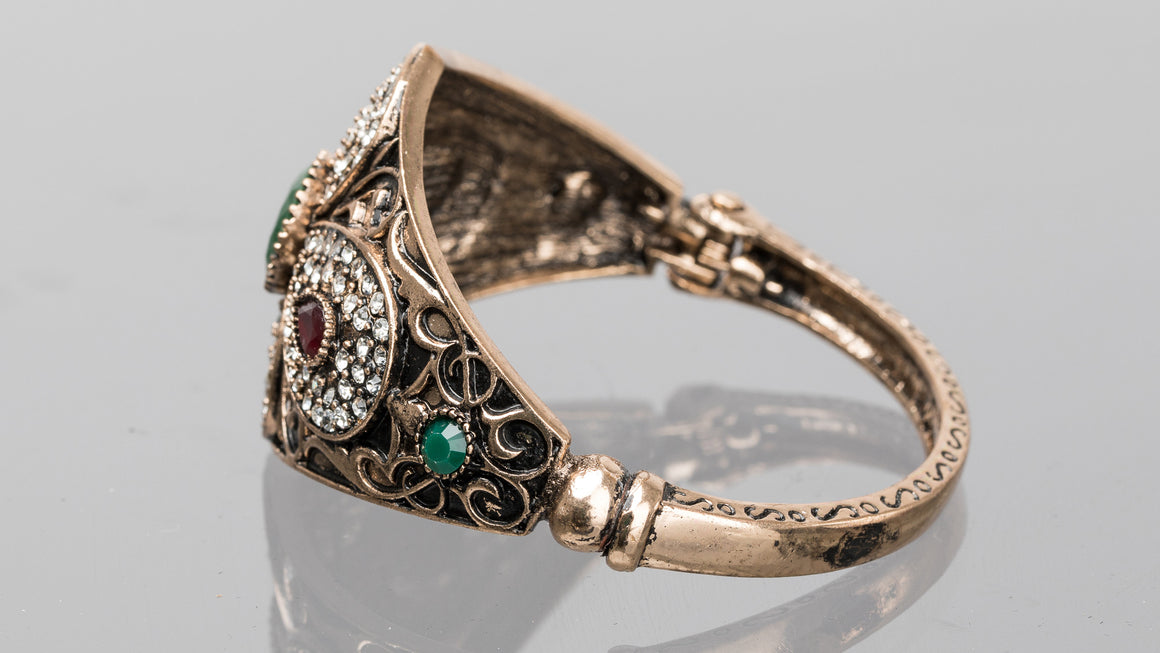 Emerald and Ruby Petal Turkish Cuff Bracelet