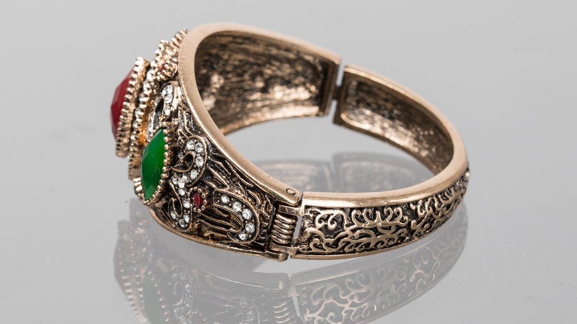 Ruby and Emerald Diamond Turkish Cuff Bracelet