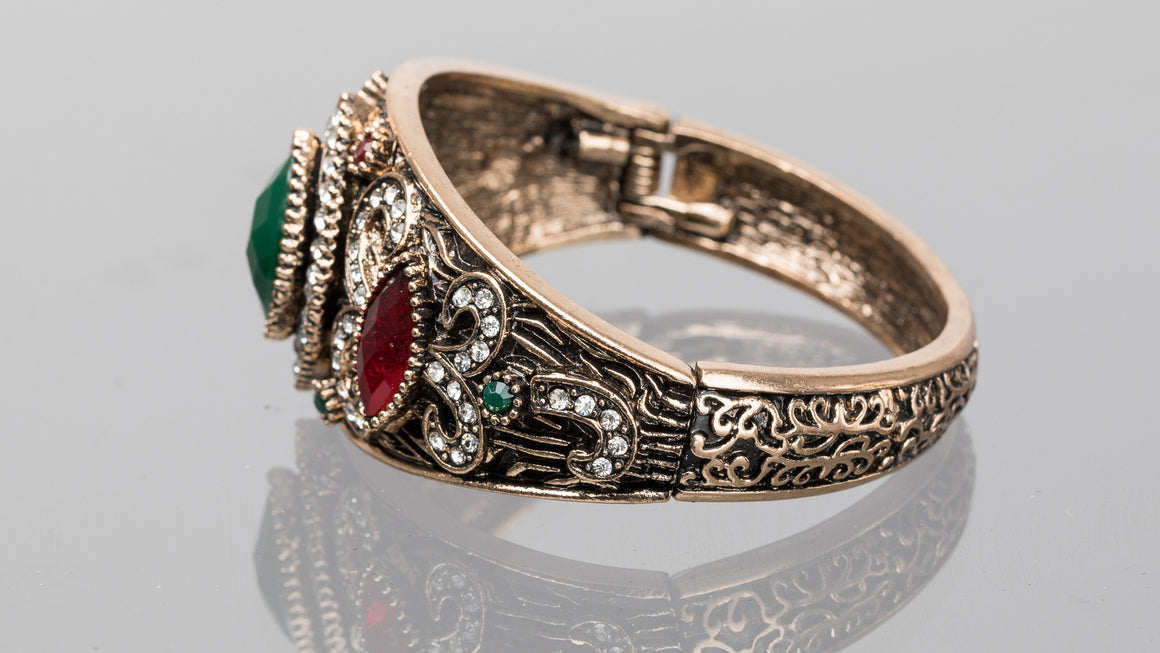 Emerald and Ruby Diamond Turkish Cuff Bracelet