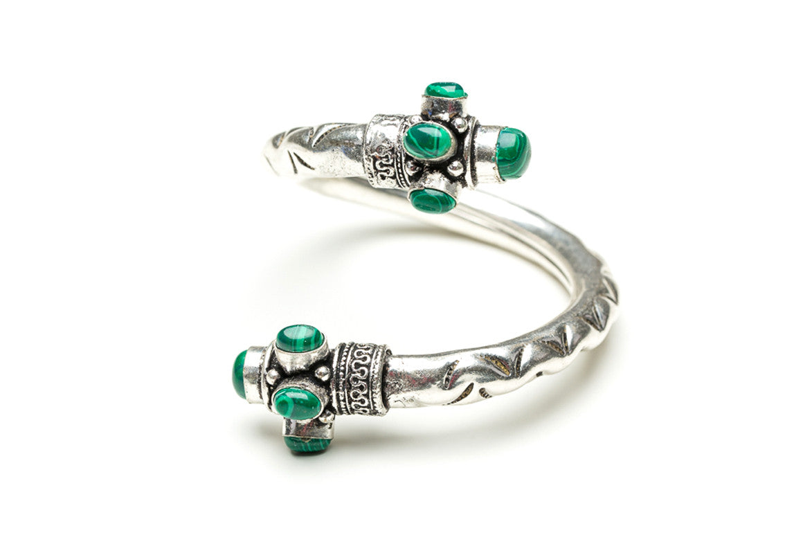 Malachite Scrolled Indian Cuff Bracelet