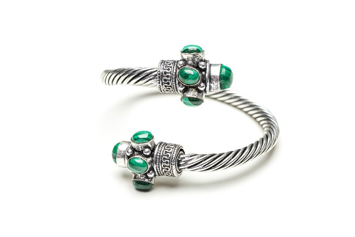 Malachite Swirled Indian Cuff Bracelet
