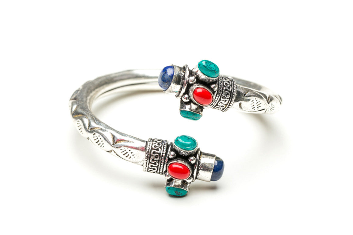 Coral, Turquoise, and Lapis Scrolled Indian Cuff Bracelet