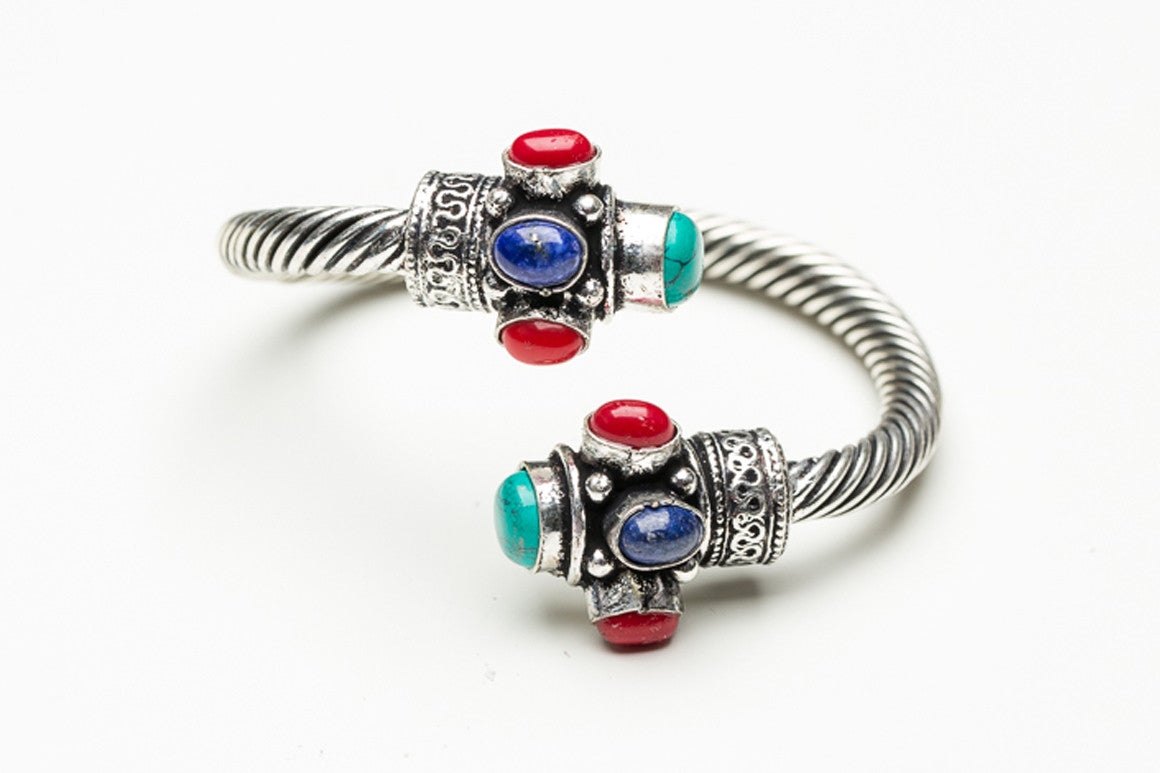 Coral, Turquoise, and Lapis Swirled Indian Cuff Bracelet