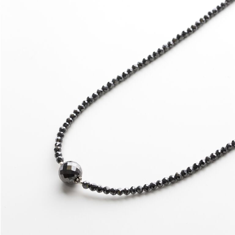 Black Diamond Faceted Necklace with 6mm or 10mm Black Diamond Faceted Bead in Center