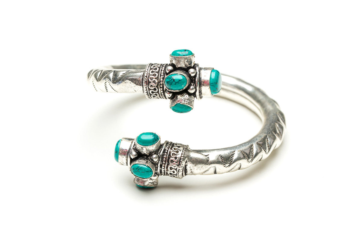 Turquoise Scrolled Indian Cuff Bracelet