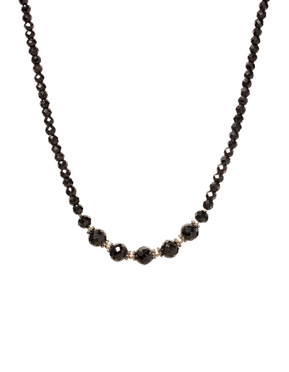 Black Diamond Faceted Necklace with 7 Faceted Black Diamond Beads in Center