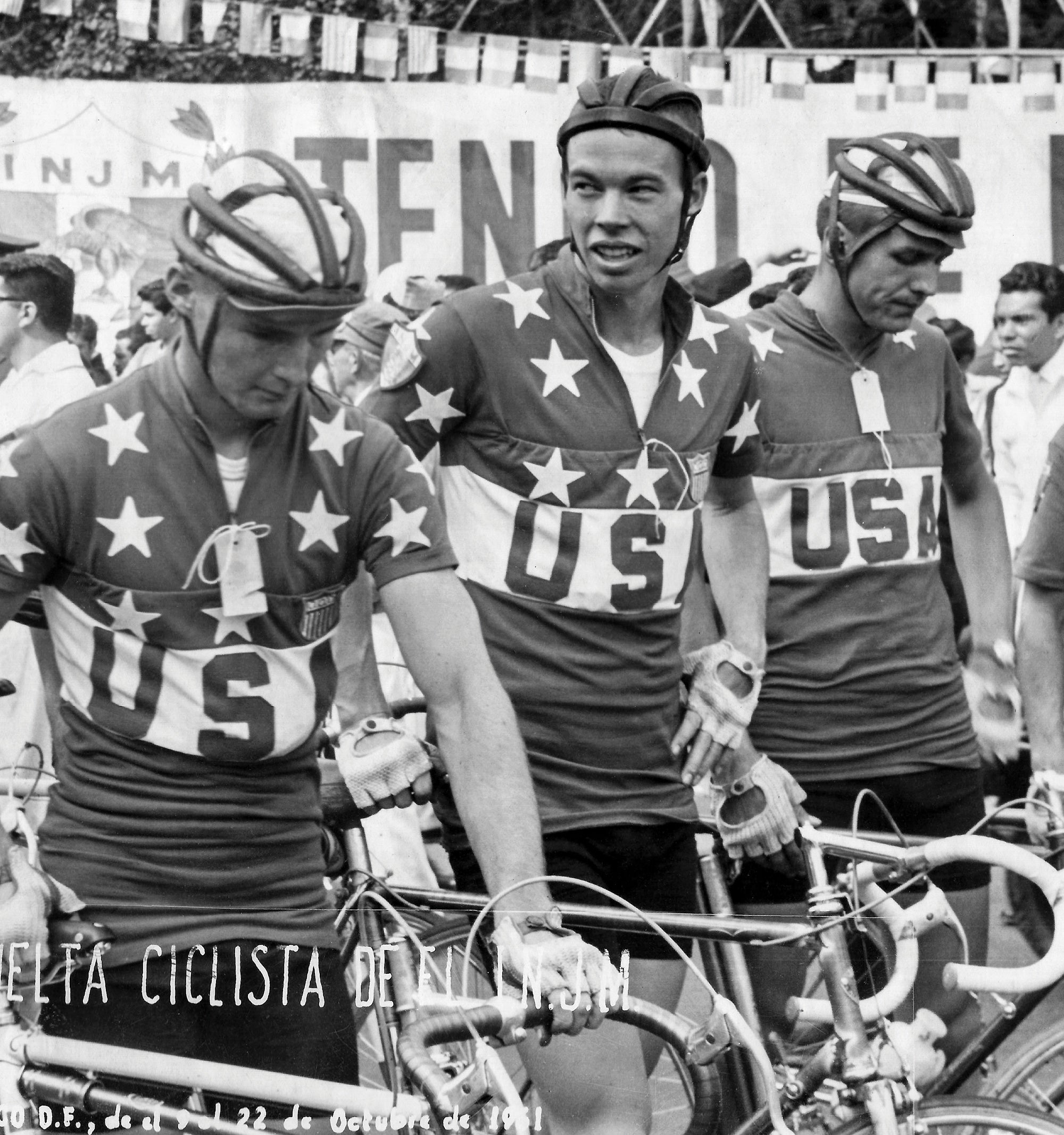 Ted Kirkbride (far right) representing the United States at the Vuelta Mexico in 1951