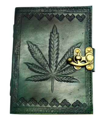 Leather-bound Journal - Green Leaf Embossed 5