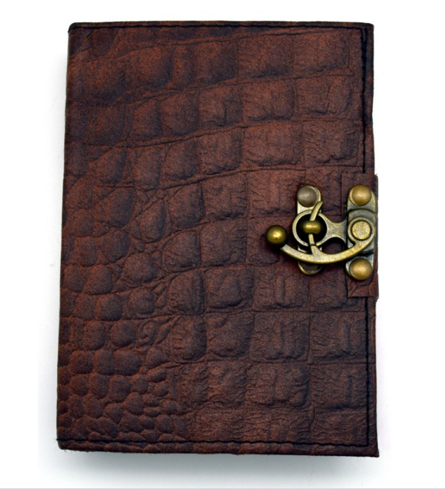 Leather-Bound Journal - Brown Python Embossed 5