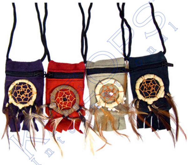 Thin Suede Dreamcatcher Medicine Pouches (Assorted Colors)