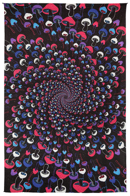 3D Glow in the Dark Magic Mushroom Spiral Tapestry 60x90