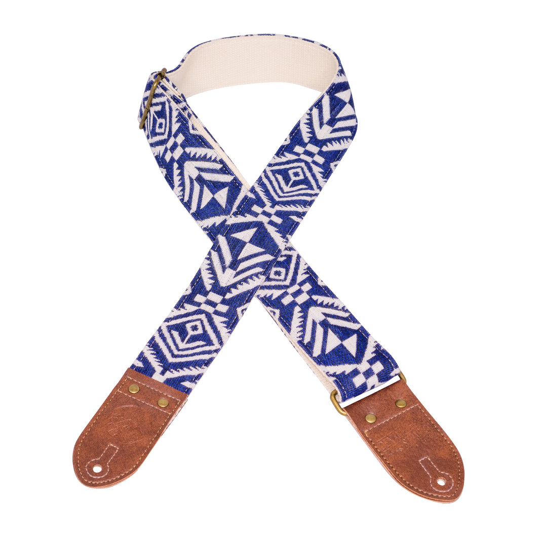 Anchors Away Blue & White Saddle Blanket Guitar Strap