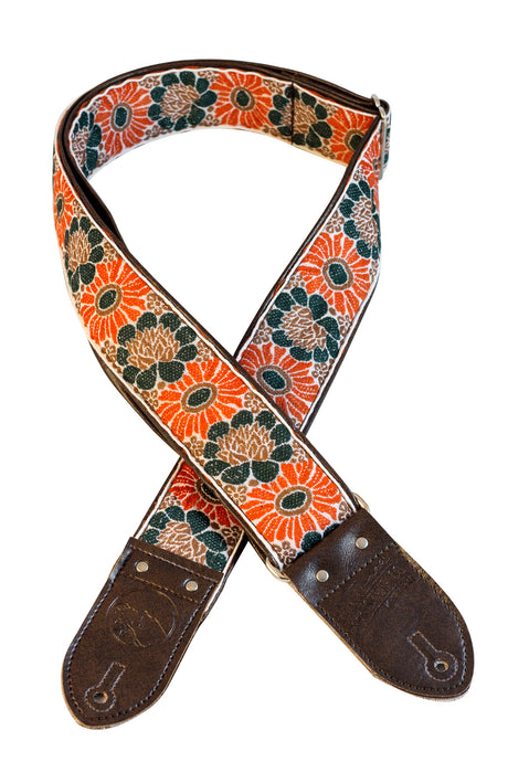 Brown and Orange Flower Ribbon Guitar Strap