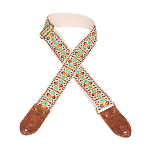Cream & Green Southwest Vintage Ribbon Guitar Strap