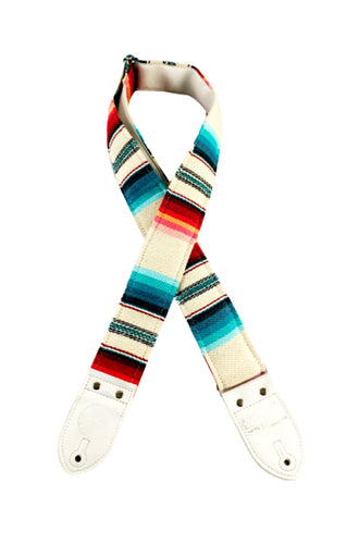 Cream and Blue Saddleblanket Guitar Strap