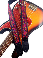 Dark Red Floral Ribbon Guitar Strap