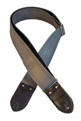 Grey Dual Stitch Guitar Strap