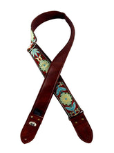 Maroon and Blue Flower Ribbon Guitar Strap