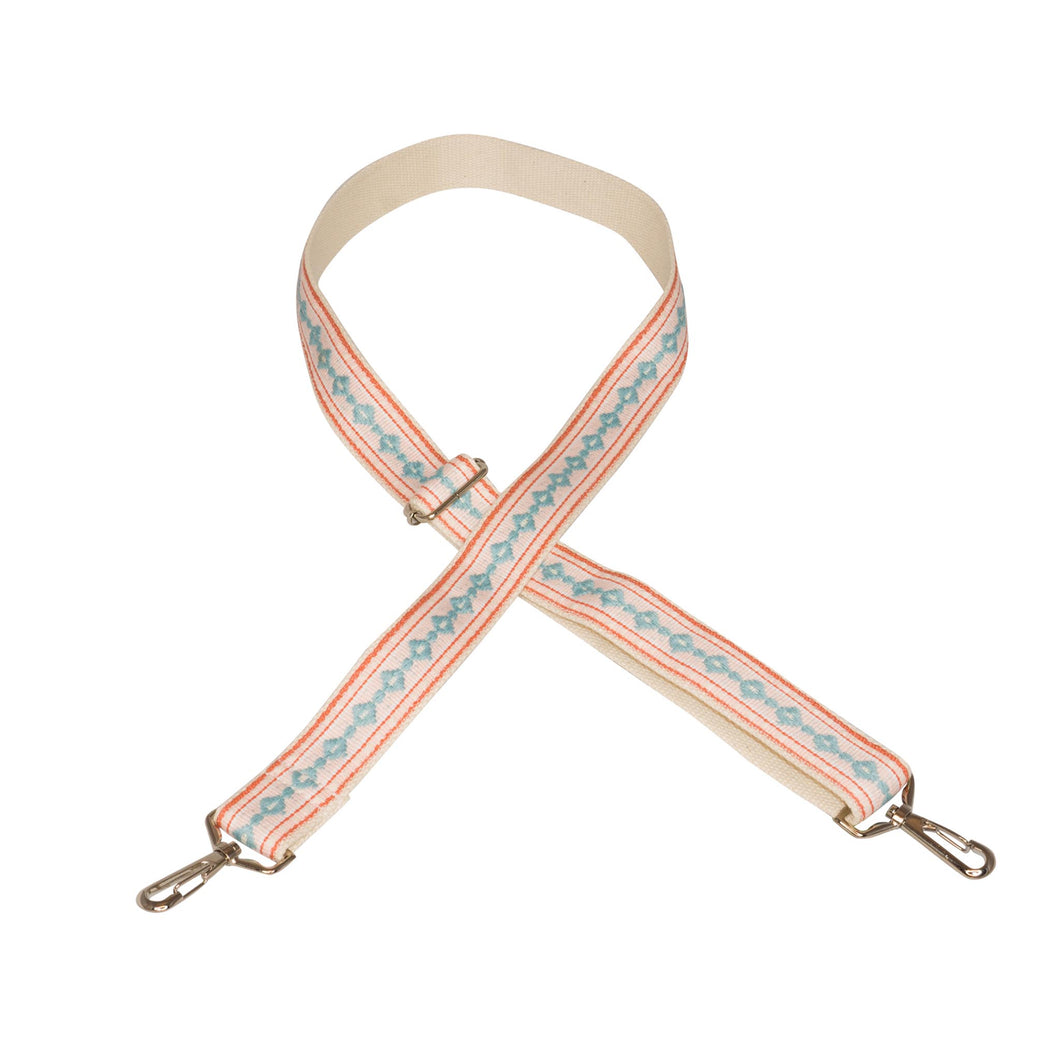 Salmon & Blue Vintage Ribbon Multi Purpose Skinny Strap