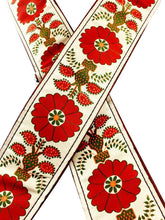 Tan and Maroon Flower Ribbon Guitar Strap