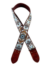 White and Blue Flower Ribbon Guitar Strap