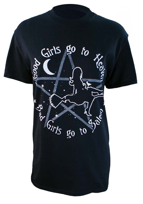 Good Girls Go To Heaven, Bad Girls Go To Salem, enough said. 6 ounce 100% Preshrunk Cotton T-Shirt, hand screen printed with Sawdust colored plastisol ink. (the shirt in photo is a size small on a ladies mannequin)