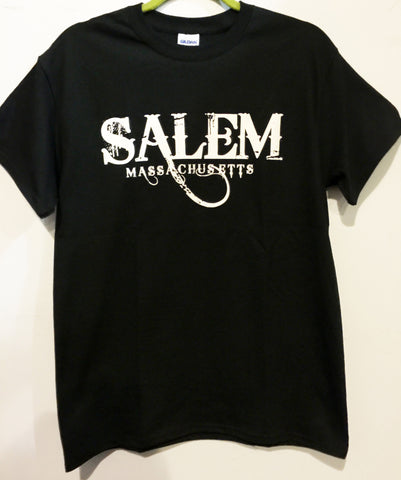 lettering, typeface, salem, massachusetts, distressed, vintage, antique, worn out, Not so basic distressed antique type design for this Salem shirt. 16 ounce 100% Preshrunk Cotton T-Shirt, hand screen printed with plastisol ink.