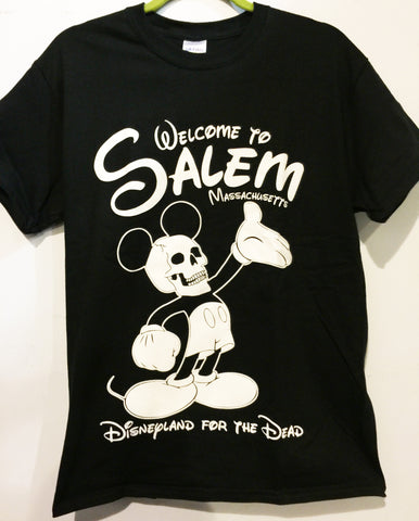 death, dead, mickey mouse, disney, disneyland, mickey mouse, skull, Another popular design. Salem is an amusement park for the afterlife, and for mortal life, a charm. 16 ounce 100% Preshrunk Cotton T-Shirt, hand screen printed with plastisol ink.