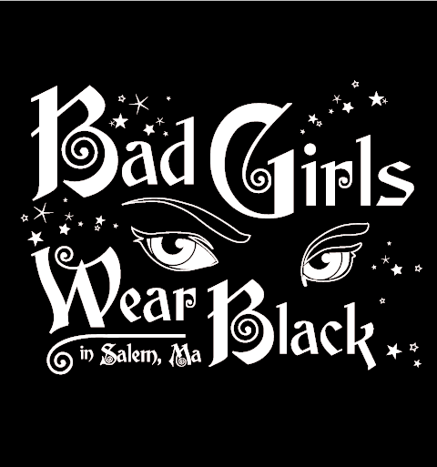 Yes witches, Bad Girls Wear Black! Go find some trouble in your bad new tee!               16 ounce 100% Preshrunk Cotton T-Shirt, hand screen printed with plastisol ink.