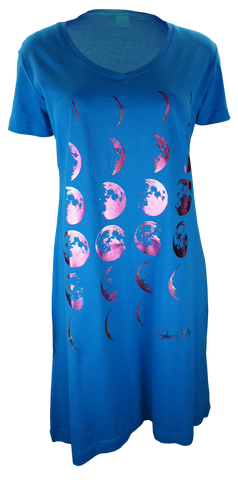 Phases of the Moon - Night Shirt Dress - blue
