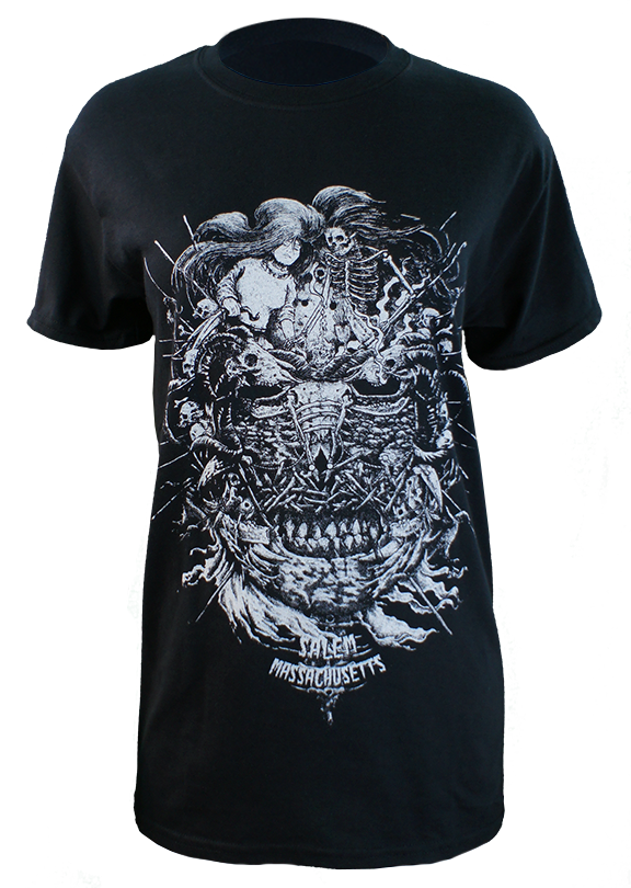 A Deeper Look is a merger between skulls and darkness that make up a grim face. 16 ounce 100% Preshrunk Cotton T-Shirt, hand screen printed with a cool gray plastisol ink. (the shirt in photo is a size small on a ladies mannequin)