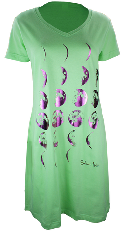 Phases of the Moon - Night Shirt Dress - Lime