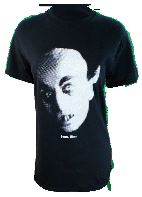 The first vampire to grace the silver screen. 6 ounce 100% Preshrunk Cotton T-Shirt, hand screen printed with Sawdust colored plastisol ink. (the shirt in photo is a size small on a ladies mannequin)